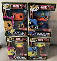 Funko Pop! Marvel Black Light Set of 4: Captain America, Iron Man, Thor, Strange