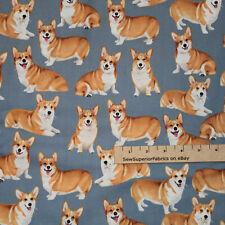 Pembroke Welsh Corgi Cardigan Corgi Pure Bred Dog Fabric 1/2 Yard #C7525