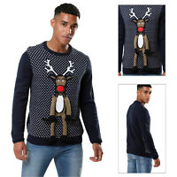 Threadbare Mens 3D Reindeer Christmas Jumper Spotted Crew Neck Festive Sweater