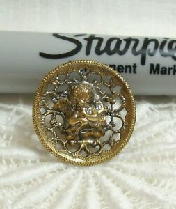 """Vintage Metal Picture Button CUPID & BOW 3/4"""""""