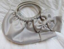 "Franchi Gray Fabric Lined Handbag 11 x 6"" w/Bow Magnetic Snap Closure"