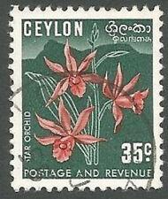Ceylon Scott# 314, Star Orchid, 35c, Used, 1952