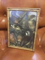 Vintage 5x7 Gold Tone Picture Art Frame Mother Of Pearl Look Ornate Bird Gift