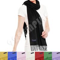 Men Women 100% CASHMERE Scarves Winter Warm Solid Color Wool Plain Scarf
