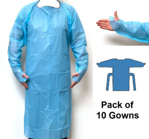 ~ 10 x Blue Isolation Plastic Gown With Thumb Loop LDPE, 40 Micron ~ Pack of 10