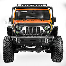 Angry Skull 2 Front Package Matte Black Mesh Grille for  07-18 Jeep Wrangler JK
