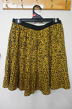 G2000, Women's size 38 (AU10), yellow print, pleated skirt, elastic waistband