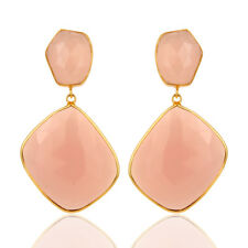 Natural Rose Quartz 18K Gold Plated 925 Sterling Silver Dangle Earrings Jewelry