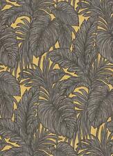 Erismann Brown Palm Leaf Glitter Wallpaper Yellow Floral Paste The Wall Vinyl