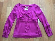 TORY BURCH ELEGANT HOT MAGENTA LONG SLEEVE SILK CHARMEUSE BLOUSE TOP Size 4