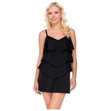 Fit 4 U Black One-Piece V-Tiered Romper Swimsuit--NWOT--Plus 18