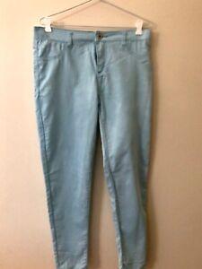 Valleygirl Y2K Light Blue Size 14 Faux Denim Stretch Skinny Mid Rise Jeans