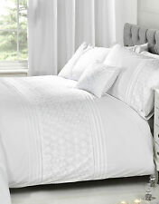 Luxury Vintage Bedding Range of Embroidered Duvet Quilt Cover Bed Set & Cushion Everdean White Double