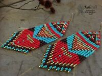 Native American style Beadwork, native style earrings, beaded earrings, seed bea