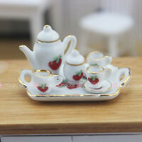 8Pcs Coffee Tea Set Porcelain Dish Pot Tray Cups Teapot Dollhouse Miniature 1:12