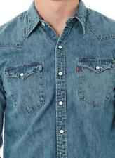 New Levi's Men's Slim Fit Barstow Denim Western Snap-Up Shirt Aged Blue (LARGE)