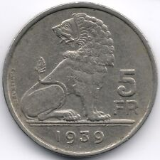 Belgium : 5 Francs 1939 Dutch - French Legend - Position B with Stars