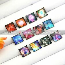 12pairs10mm Fashion Earrings Stud Earrings Glass cabochon Earrings starry sky