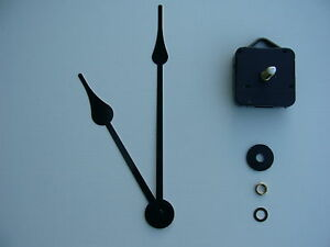 HIGH TORQUE CLOCK MECHANISM  LONG SPINDLE 8 INCH FRENCH SPADE BLACK HANDS