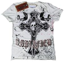 Amplified saint & traditionnel gothic cross skull King strass rock star t-shirt s 46/48