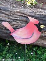 METALL Vogel rot Figur handbemalt 50cm Edelstahl Stahl GARTEN DEKO WOHNUNG