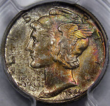 1944 Mercury Dime Monster Gem PCGS/CAC MS-66... with Incredible RAINBOW TONING!!