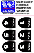 SIG P320 / P250  40 CAL MAGAZINE BASE PLATE STICKERS WHITE NUMBERS 1-6