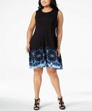 Style&co Plus Size 3x Black Sleeveless Tie Dye Boarder Print Swing Dress