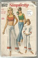 """Simplicity Sewing Pattern 6512, Vintage Midriff Top, Top Pants, Size 14 Bust 34"""""""