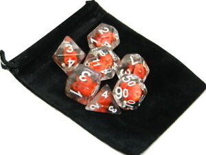New 7 Piece Polyhedral Flame Skull Dice Set With Dice Bag D&D RPG Red clear