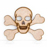 Wooden MDF Skull and Cross Bones Craft Shape Decoration Embellishment 3mm Thick