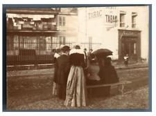 France, devant le bar tabac Vintage citrate print.  Tirage citrate  6x8