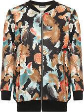 Womens Plus Feather Bomber Jacket Ladies Print Long Sleeve Zip Elasticated 14-28