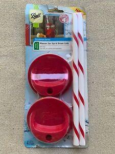 NEW Ball Mason Jar Sip & Straw Lids Set of 4 Drinkware Series  - Wide Mouth