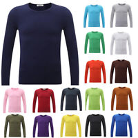 Men's Tops Long Sleeve Solid Color T-Shirt Round Neck Casual Bottoming Shirt 3XL