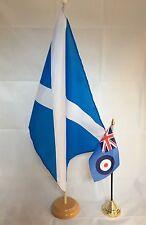 """SCOTLAND ST ANDREW LIGHT BLUE 18"""" x 12"""" FLOOR STANDING FLAG & WOOD BASE SCOTTISH"""