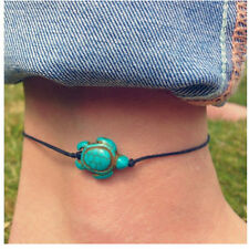 Sea Turtles Bracelet Anklet Howlite Turquoise Black Waxed Cotton String Tie