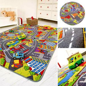Kinderteppich Straßenteppich Spielteppich Kinderzimmer Auto Straße Stadt