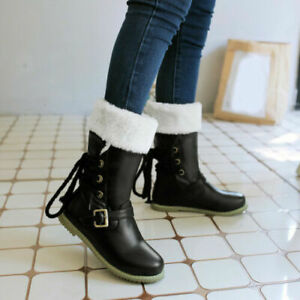 Size 34-52 Womens Pull On Fur Lining Snow Boots Flat Strapy Roman Mid Calf Boots