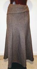 M&S Brown herringbone kickflare long skirt size 12 14