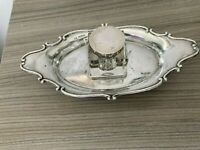 Silver Desk Stand With Fitted Glass Inkwell Chester 1908
