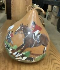 """Fox Hunt Hunting Decorative Hand Painted Gourd 11x10"""""""