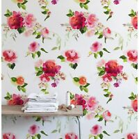 Watercolor spring flowers removable wallpaper Floral wall mural Home Decor