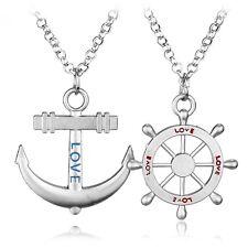 Partnerkette Anker und Steuerrad Love Liebe Farbe Silber 2 Ketten Anhänger 1316