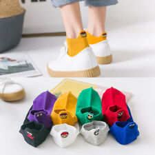 Women Girl Embroidered Expression Socks Funny Ankle Socks Cotton Casual Socks