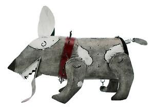 Grey and white bulldog DOG with big balls shaped tea-light holder 28 cm long new