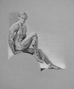 "nude/ drawing male/charcoal/original/""Man on Globe"" by Earle Jay Goodman"