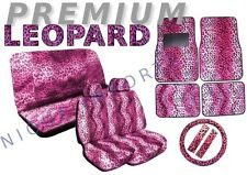 Hot Pink Leopard 15pc Car Seat Covers Animal Pair Bench Floor Mats CS3
