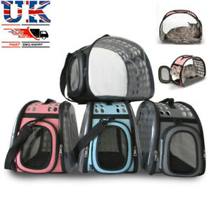 Pet Dog Cat Puppy Portable Lucency Travel Carry Carrier Tote Cage Bag Crates UK=