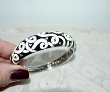 "PO $675 Stunning Belle Etoile ""Denouement"" Black & Cream Enamel Bangle Bracelet"